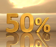 Gold 50%, Fifty Percent Discount Sign Royalty Free Stock Photography