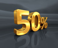 Gold 50%, Fifty Percent Discount Sign Stock Image