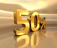 Gold 50%, Fifty Percent Discount Sign Royalty Free Stock Image