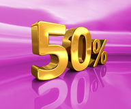 Gold 50%, Fifty Percent Discount Sign Royalty Free Stock Photo