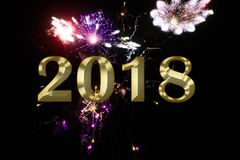 Gold figures 2018 on the background of the festive fireworks Royalty Free Stock Images