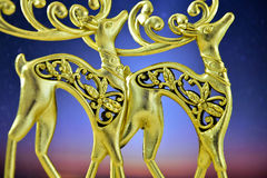 The gold figures of deer in the night sky Stock Image