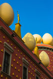 Gold figures and eggs on roof of Salvador Dali Museum Royalty Free Stock Images