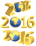 Gold figures of the new year 2016 plus the Earth.  Royalty Free Stock Image