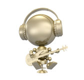Gold figurine of robot - musician Royalty Free Stock Photography