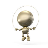 Gold figurine working out with rope Royalty Free Stock Photo