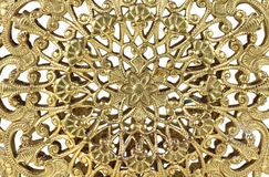 Gold filigree. Close view of delicate gold filigree design Stock Photos