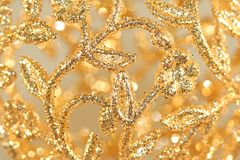 Gold Filigree. Close-up of Gold Filigree Christmas Ornament royalty free stock photo