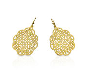 Gold filigree lace earrings Stock Photo