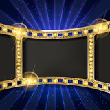 Gold film on the curtain backdrop. Gold film on the blue curtain backdrop. Vector illustration. Banner Royalty Free Stock Photo