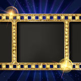 Gold film on the curtain backdrop. Gold film on the blue curtain backdrop. Vector illustration. Banner Royalty Free Stock Images