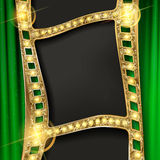 Gold film on the curtain backdrop. Gold film on green the curtain backdrop. Vector illustration. Banner Stock Photography