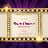 Gold film on the curtain backdrop. Gold film on the purple curtain backdrop. Vector illustration. Banner Royalty Free Stock Photos
