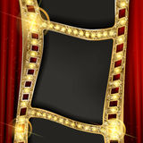 Gold film on the curtain backdrop. Gold film on the red curtain backdrop. Vector illustration. Banner Stock Image