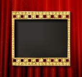 Gold film on the curtain backdrop. Gold film on the red curtain backdrop. Vector illustration. Banner Stock Images