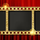 Gold film on the curtain backdrop. Gold film on the red curtain backdrop. Vector illustration. Banner Royalty Free Stock Photos