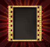 Gold film on the curtain backdrop. Royalty Free Stock Photo