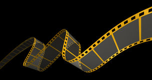 Gold Film Strip on black. 3D Render of Motion Picture Film Royalty Free Stock Photos
