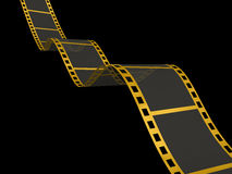 Gold Film Strip on black. 3D Render of Motion Picture Film Royalty Free Stock Photography