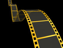 Gold Film Strip on black. 3D Render of Motion Picture Film Stock Photo