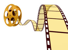 Gold Film Strip. 3D Render of Motion Picture Film Stock Photo