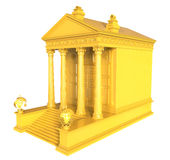 Gold Financial Institution. 3d render of Gold Financial Institution on a white background Royalty Free Stock Photos