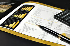 Gold financial report Royalty Free Stock Images