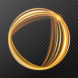 Gold fire or glow light circle with glitter effect on vector transparent background Stock Photos