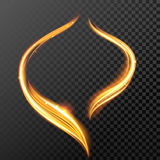 Gold fire or glow light circle with glitter effect on vector transparent background. Fire light trail or burning flame curves and glowing sparkle rings on vector Royalty Free Stock Photo