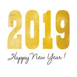 Gold firework pattern 2019 happy new year graphic vector illustration