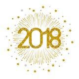 2018 gold firework on white background. Vector illustration Royalty Free Stock Image