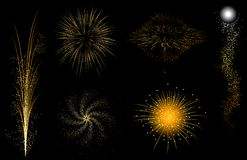 Gold fireworks Royalty Free Stock Photo