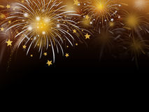 Gold fireworks background. With copy space Royalty Free Stock Photos