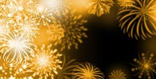 Gold fireworks background Stock Photos