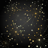 Gold fireworks on dark background. Gold abstract fireworks on dark background. Vector illustration Royalty Free Stock Image