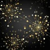 Gold fireworks on dark background. Gold abstract fireworks on dark background. Vector illustration Stock Image