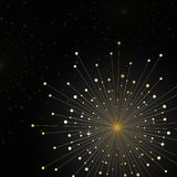 Gold fireworks on dark background. Gold abstract fireworks on dark background. Vector illustration Stock Photos