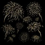 Gold fireworks design on black background. Vector illustration Royalty Free Stock Images