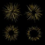Gold fireworks Radiating from the center of thin beams, lines. Vector illustration. Dynamic style Abstract explosion, speed motion. Gold fireworks Radiating from Stock Photo