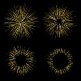Gold fireworks Radiating from the center of thin beams, lines. Vector illustration. Dynamic style Abstract explosion, speed motion. Gold fireworks Radiating from Royalty Free Stock Photos