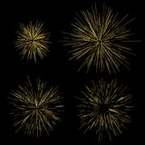 Gold fireworks Radiating from the center of thin beams, lines. Vector illustration. Dynamic style Abstract explosion, speed motion. Gold fireworks Radiating from Stock Photography