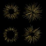 Gold fireworks Radiating from the center of thin beams, lines. Vector illustration. Dynamic style Abstract explosion, speed motion. Gold fireworks Radiating from Royalty Free Stock Photo