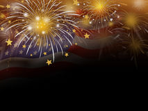 Gold fireworks and USA flag background. With copy space Stock Image