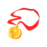 Gold first place medal cartoon vector Illustration Stock Photography