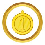 Gold first place medal icon. In golden circle, cartoon style isolated on white background royalty free illustration