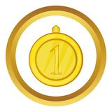 Gold first place medal vector icon. In golden circle, cartoon style isolated on white background Stock Photos
