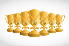 Gold first place trophies illustration design. Over a white background Royalty Free Stock Images