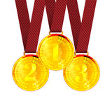 Gold the First, Second and Third place Award. Medals with Ribbons. Vector Illustration Stock Photography