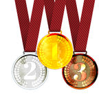 Gold the First, Second and Third place Award. Medals with Ribbons. Vector Illustration Stock Photo