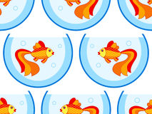 Gold fish aquarium pattern. Seamless pattern of the cartoon gold fish aquarium Stock Image